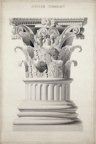 Study of a Corinthian capital and base from the Temple of Vespasian, Rome;Jupiter Tonnant