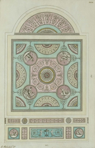 Design for a dining-room ceiling from A Book of Ceilings composed in the style of the Antique Grotesque, London 1776 (plate XXIX)