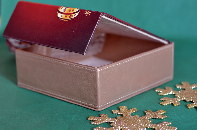 CHRISTMAS GIFT LEATHER BOX 12 or 16 COOKIES
