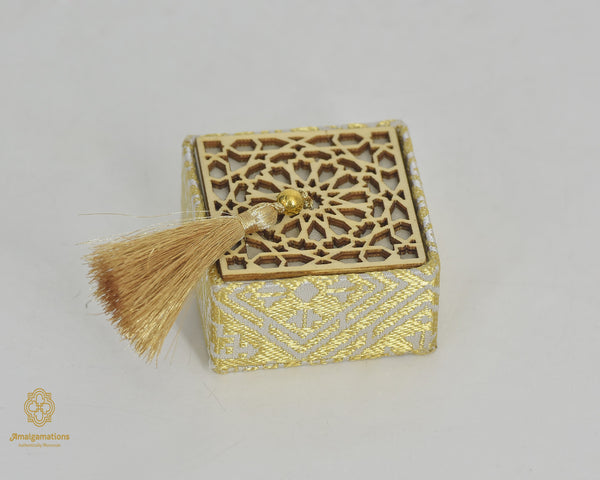 HANDMADE GOLDEN SQUARE BOX & CARVED WOODEN LID