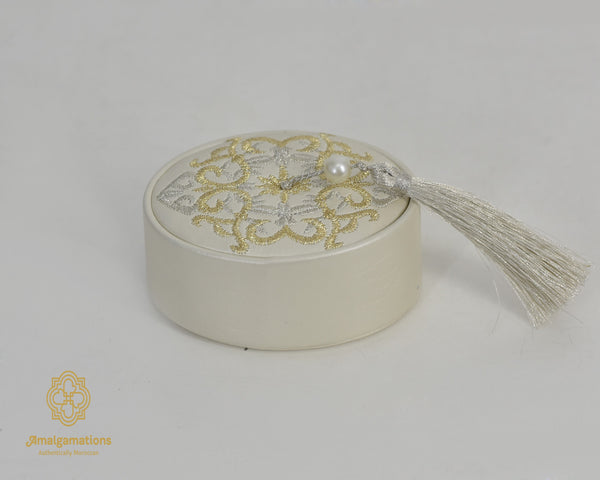 HANDMADE IVORY LEATHER OVALE BOX & GOLD & SILVER EMBRODERY