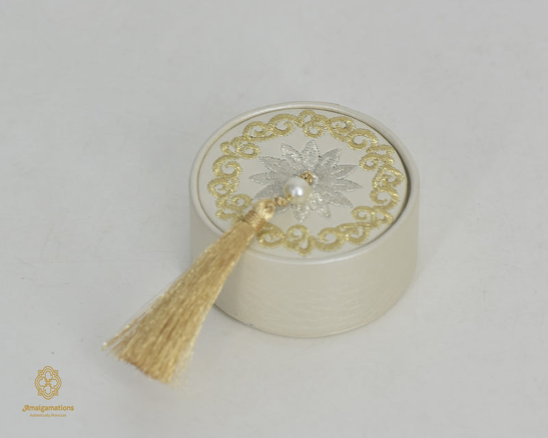 HANDMADE IVORY LEATHER ROND BOX & GOLD & SILVER EMBRODERY