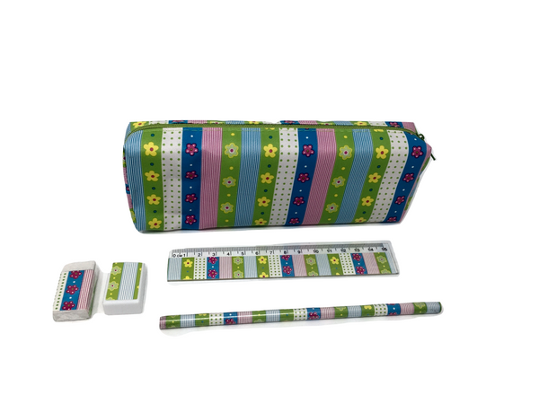Pencil Case with Pencil, Ruler, Sharpener and Rubber - Flowers and Stripes