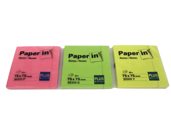 Paper-In Florescent Stick On Notes 75x75mm - 80 notes