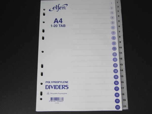 Elfen PP Dividers Separators Grey Numbered 1 to 20
