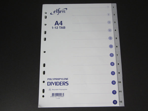Elfen PP Dividers / Separators Numbered 1-12 Grey
