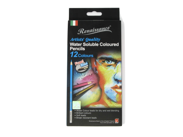 Coloured Pencils - Water Soluble with Paintbrush - (Set of 12) (Renaissance)