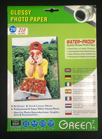 Green2 Glossy Photo Paper A4 210gsm