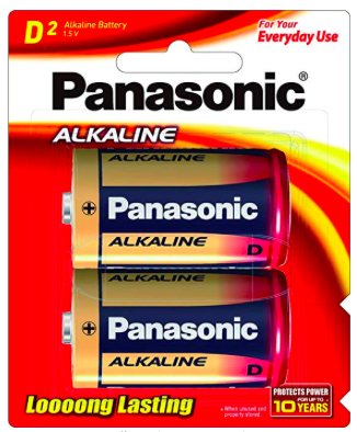 Batteries - D - Panasonic Alkaline (Pack of 2)