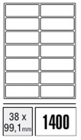 Computer Labels - 38 x 99,1mm (Packet x100 sheets)