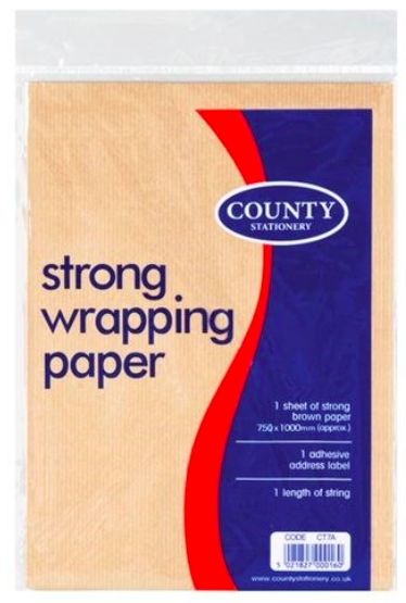 Brown Wrapping Paper - 1 Sheet with Address Label and String