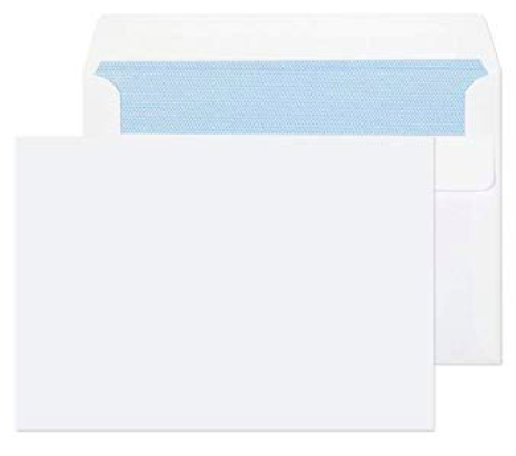Envelopes - 114mm x 162mm - (Postcard) Plain White with Adhesive Strip