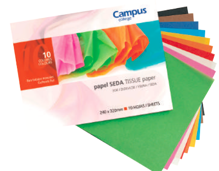 Craft Paper - Tissue - (Packet of 10 sheets x 10 colours)