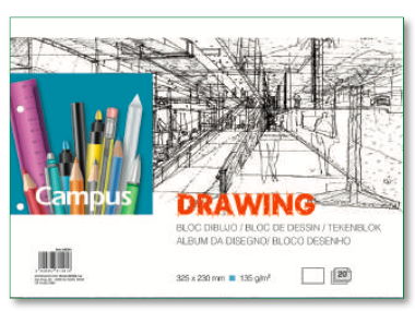 Drawing Book - 325 x 230mm - 20 sheets - Glued with 2 holes - 135gsm.