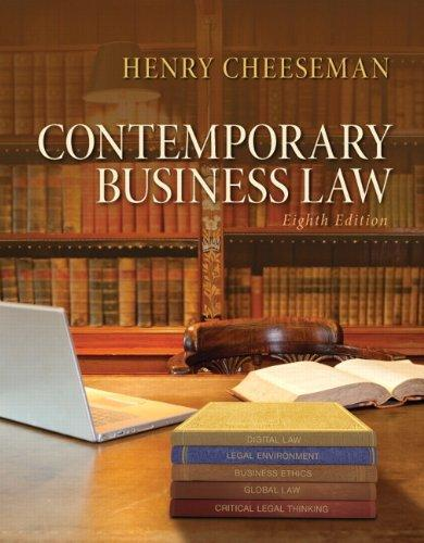 Contemporary Business Law (8th Edition), Hardcover, 8 Edition by Cheeseman, Henry R.