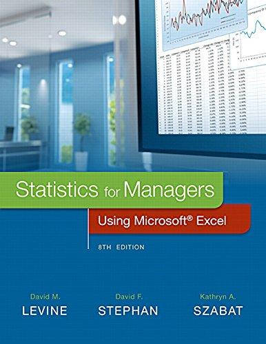 Statistics for Managers Using Microsoft Excel (8th Edition), Hardcover, 8 Edition by Levine, David M.