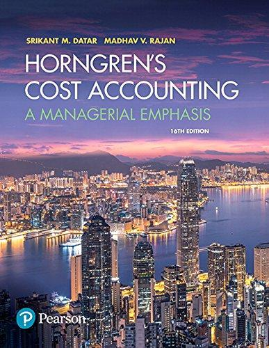Horngren's Cost Accounting: A Managerial Emphasis (16th Edition), Hardcover, 16 Edition by Datar, Srikant M.