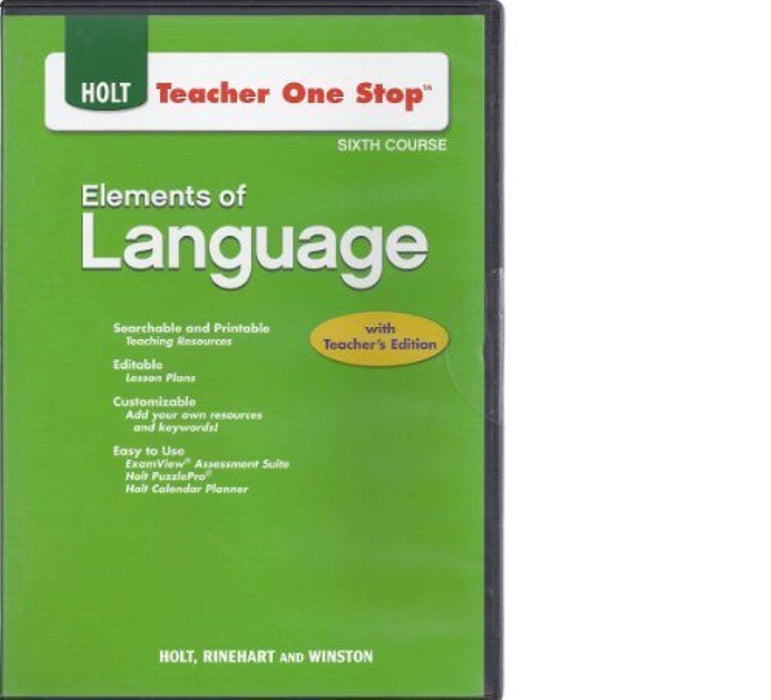 Teacher One Stop CD-ROM Sixth Course (Holt Elements of Language), CD-ROM by Staff (Used)