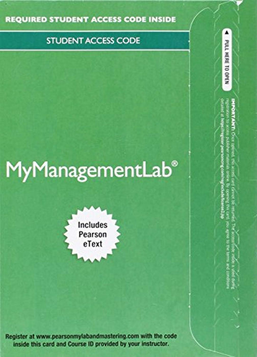 MyLab Management with Pearson eText -- Access Card -- for International Business: The Challenges of Globalization, Printed Access Code, 8 Edition by Wild, John J. (Used)