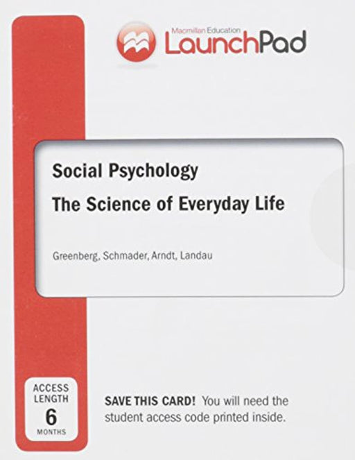 Launchpad for Greenberg's Social Psychology, Six Month Access, Printed Access Code, First Edition by Greenberg, Jeff