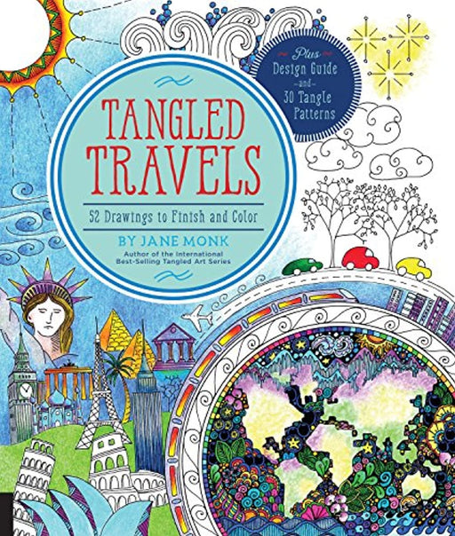 Tangled Travels: 52 Drawings to Finish and Color (Tangled Color and Draw), Paperback, Clr Csm Edition by Monk, Jane