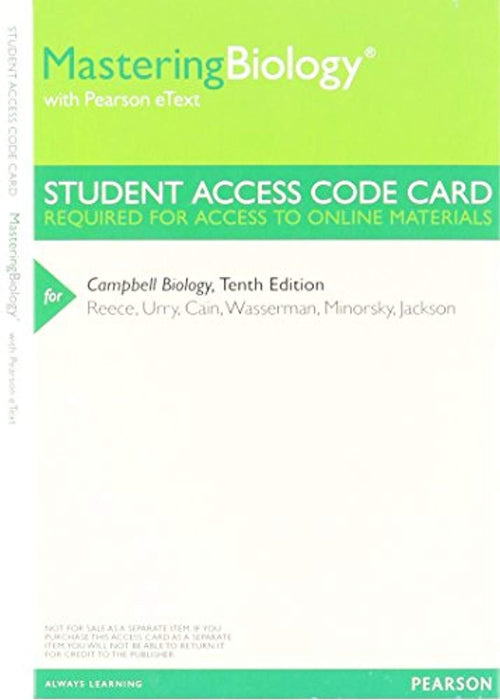 MasteringBiology with Pearson Etext -- Valuepack Access Card -- for Campbell Biology (ME Component), Paperback, 10th edition by Reece, Urry, Cain, Wasserman, Minorsky, Jackson