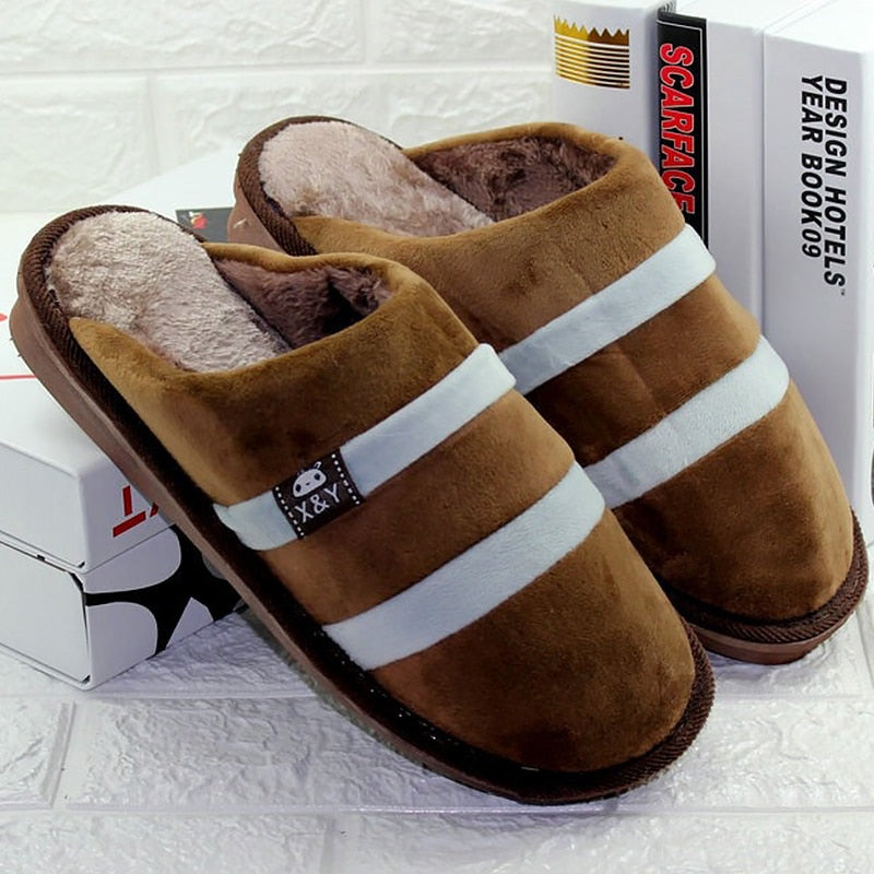 Indoor slippers men short plush Winter warm slippers Non-slip 2019 brand comfortable House slippers man Plus size 44-48 striped