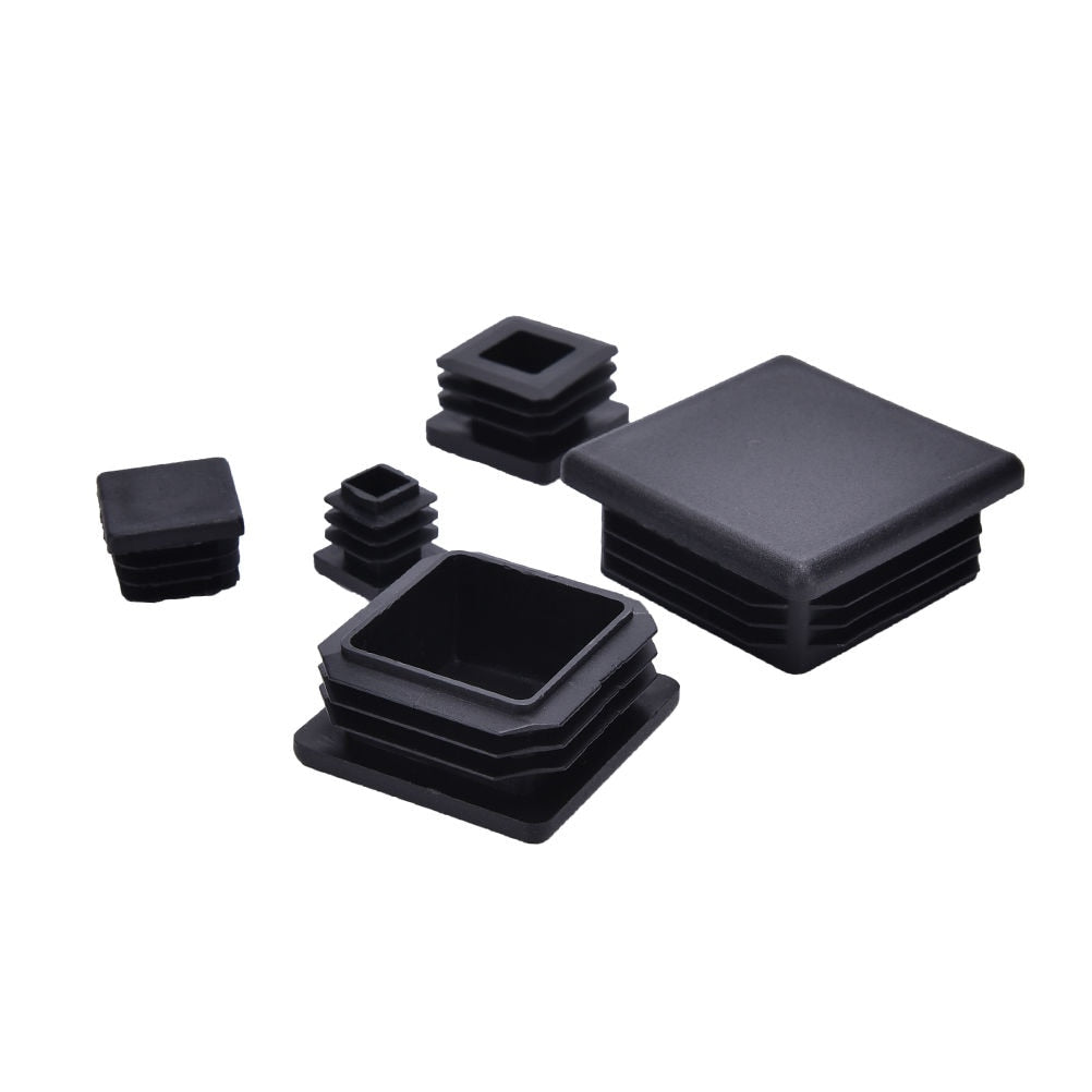 10Pcs Wholesales Plastic Black Blanking End Caps Square Inserts For Tube Pipe Box Section