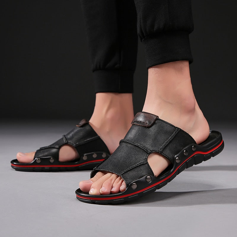 Genuine Leather Men Slippers outdoor Beach Shoes Comfortable Men 2019 Summer Flat Heels Male Slides Luxury brand slippers L5