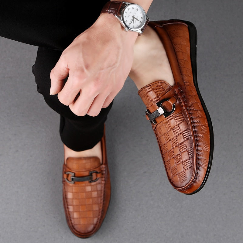 2019 Men genuine Leather shoes Loafers Slip On Genuine Leather Male Shoes Casual Brand Men Shoes Wedding Men Boat Shoes L5
