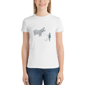 Hippo on a Leash Short sleeve women's t-shirt
