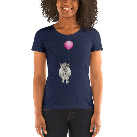 Scotch Cow with Balloon Ladies' short sleeve t-shirt