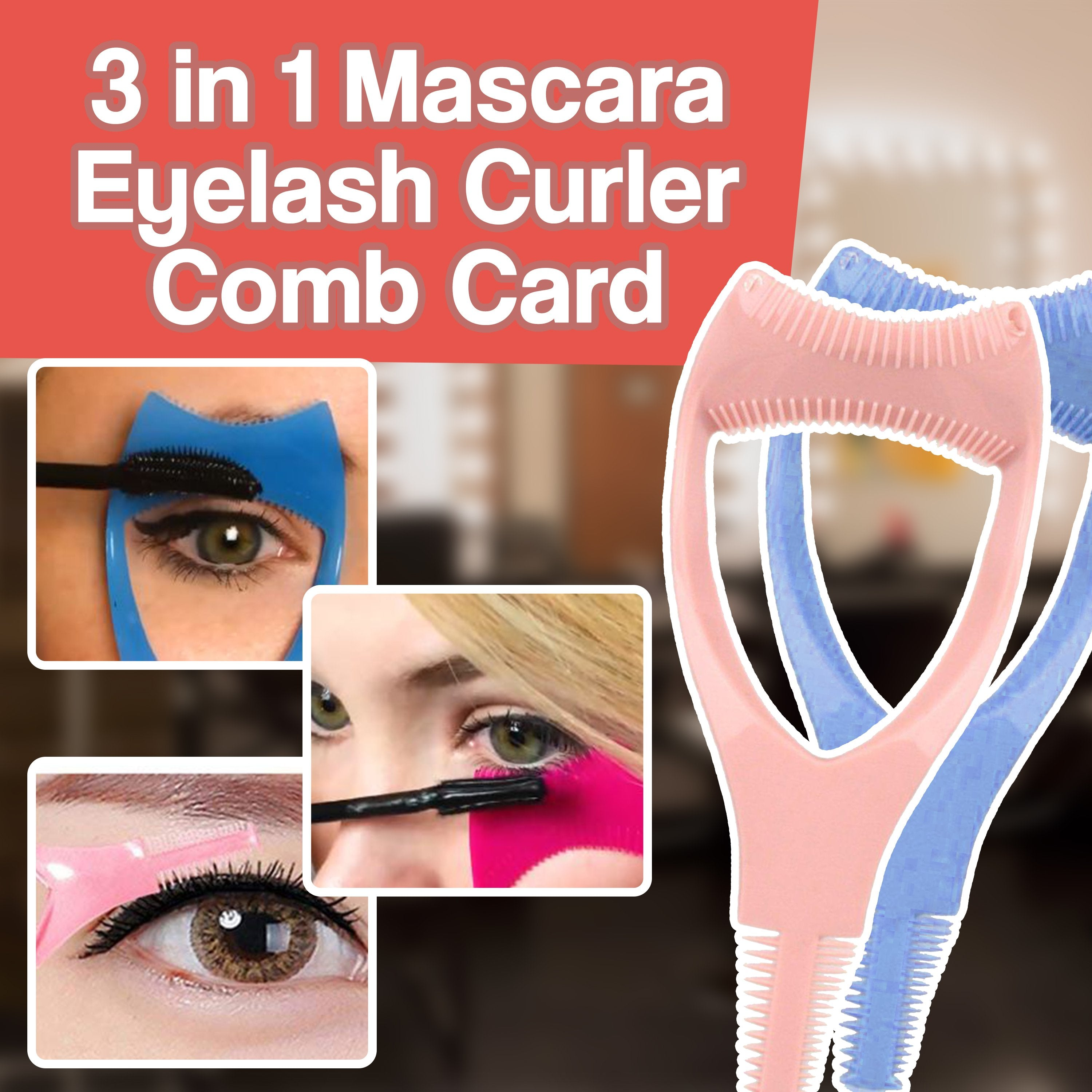 3 in 1 Mascara Eyelash Curler Comb Card