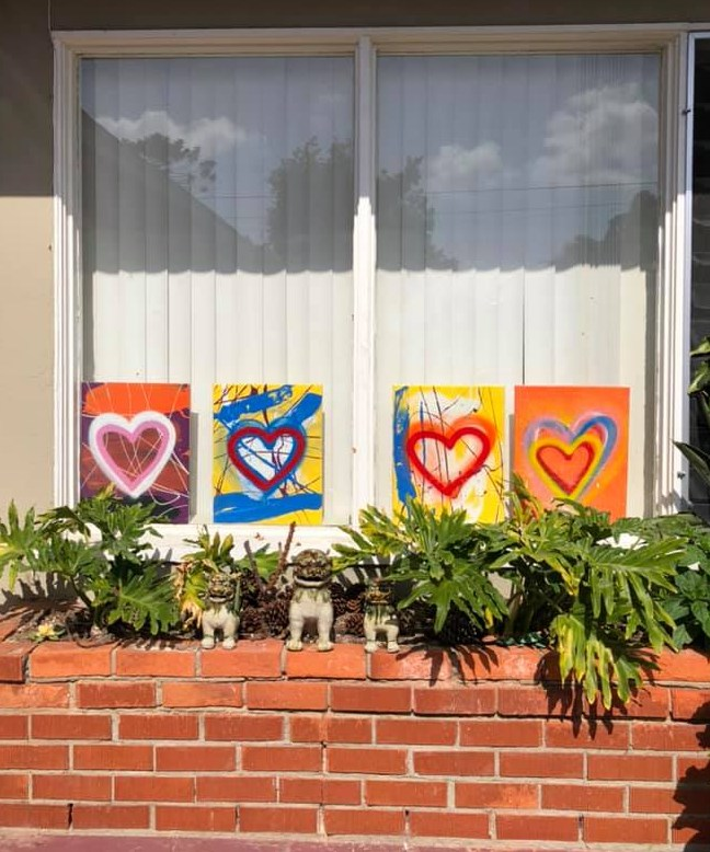 Heart Paintings in Window to show hope lives here with Hearts of Hope & Love Paintings by SALAZAR