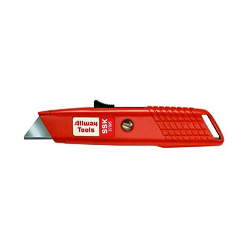 Allway Tools Metal Self Retracting Safety Knife with 3 Blades