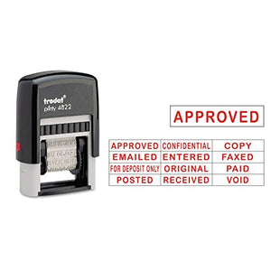 U. S. STAMP & SIGN Self-Inking Stamps, 12-Message, Self-Inking, 1 1/4 x 3/8, Red (E4822)