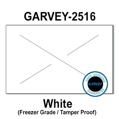 160,000 GENUINE GARVEY 2516 White Freezer Grade Adhesive Labels: full case - 20 ink rollers - tamper proof security cuts