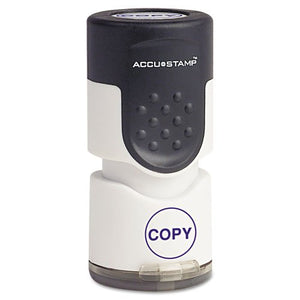 ACCUSTAMPamp;reg; - Accustamp Pre-Inked Round Stamp with Microban, COPY, 5/8amp;quot; dia, Blue - Sold As 1 Each - Built-in Microban antimicrobial protection inhibits the growth of stain and odor causing bacteria.