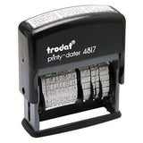 Trodat Printy 4817 Self-Inking Economy 12-Message and Date Stamp, Black 4 Pack