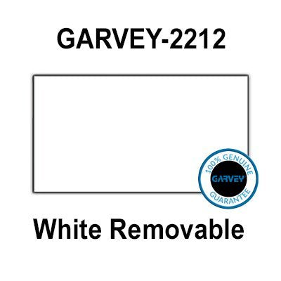 220,000 Genuine GARVEY 2212 White Removable Labels: Full Case - 20 Ink Rollers - no Security cuts