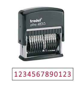 "Trodat .125"" x 1.3"" 13-Digit Self-Inking Numberer Rubber Stamp - Non Customizable (Red)"