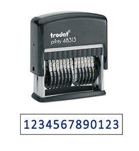 "Trodat .125"" x 1.3"" 13-Digit Self-Inking Numberer Rubber Stamp - Non Customizable (Blue)"