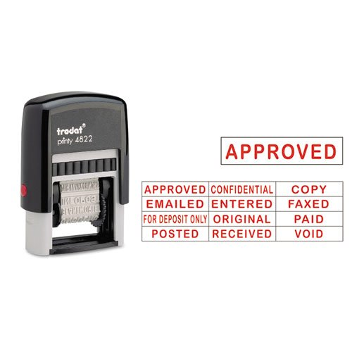 Trodat - Self-Inking Stamps, 12-Message, Self-Inking, 1 1/4 x 3/8, Red E4822 (DMi EA
