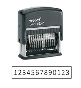 "Trodat .125"" x 1.3"" 13-Digit Self-Inking Numberer Rubber Stamp - Non Customizable (Black)"