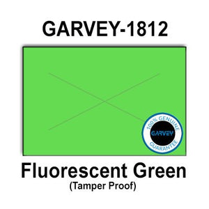 280,000 GENUINE GARVEY 1812 Fluorescent Green General Purpose Labels: full case - 20 ink rollers - tamper proof security cuts