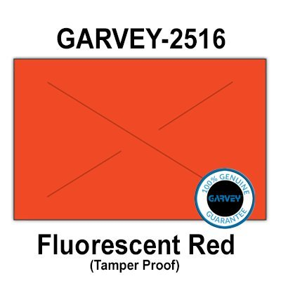160,000 GENUINE GARVEY 2516 Fluorescent Red General Purpose Labels: full case - 20 ink rollers - tamper proof security cuts