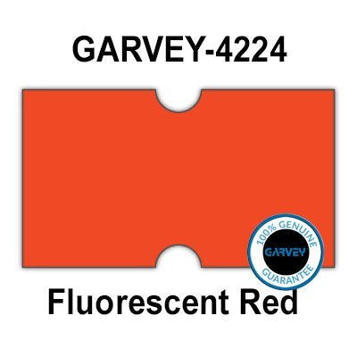 240,000 Genuine GARVEY 2112 FL Red General Purpose Labels: Full case - no Security cuts [Compatible w/Motex MX-5500, Towa 1 Line, Jolly, Hallo, Freedom and Impressa 2112 Punch Hole (PH) Labelers]