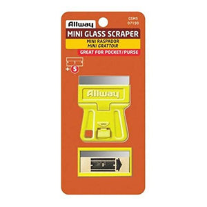 Allway Mini Glass Scraper with 5 Extra Steel Razor Blades