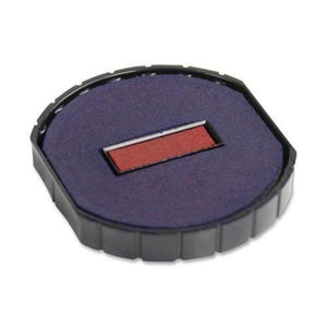 Cosco R 50 Round Stamp Dater Replacement Pad, 2 Color, Blue/Red