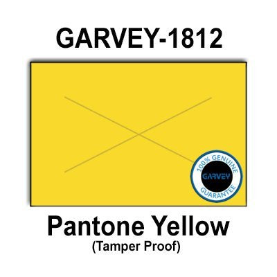 280,000 GENUINE GARVEY 1812 Yellow General Purpose Labels: full case - 20 ink rollers - tamper proof security cuts